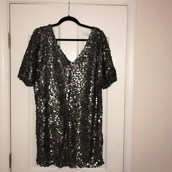 502261a68a Forever 21 Dresses | Grey Chunky Sequin Mini Dress | Poshmark